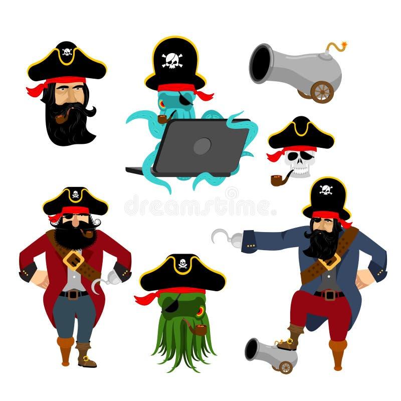 Piratów ustaleni charaktery Sieć pirata ośmiornica pirat z działem ilustracja wektor
