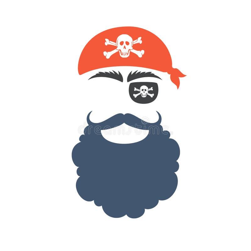 Piratów wsparć twarz royalty ilustracja