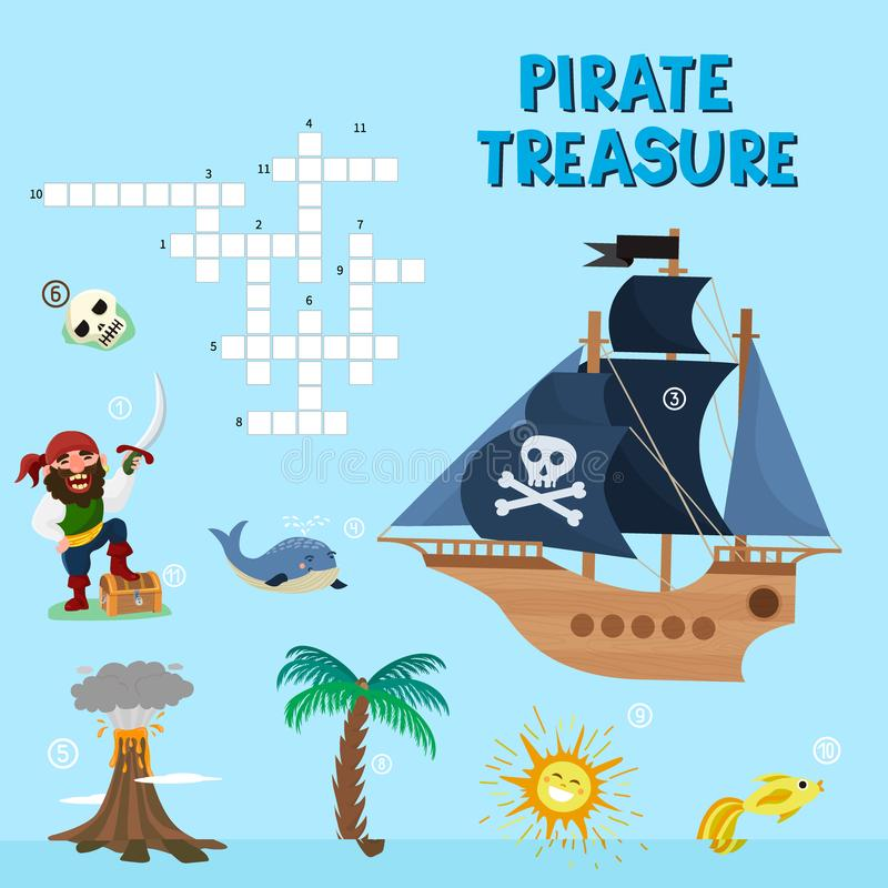 Pirat łamigłówki skarbu przygody crossword łamigłówki labiryntu edukaci wektorowa gra dla dzieci o piratach znajduje mapy morze ilustracja wektor