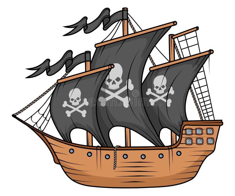 Pirat łodzi lub statku ilustracja, odizolowywająca na białym tle, kreskówka pirata denny statek, żeglowanie statek przy morzem ilustracji