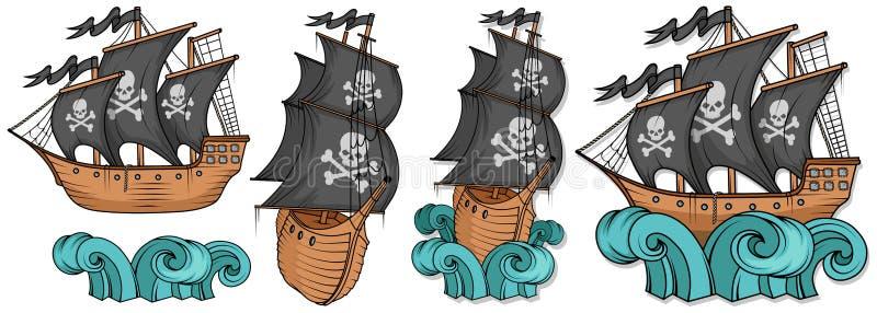 Pirat łodzi lub statku ilustracja, odizolowywająca na białym tle, kreskówka pirata denny statek, żeglowanie statek przy morzem, w royalty ilustracja