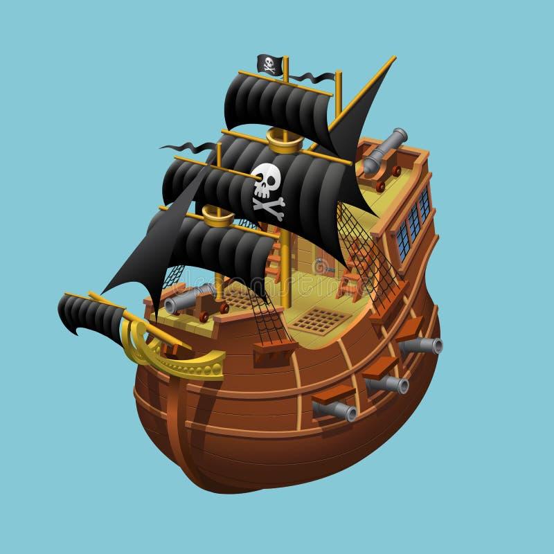 Pirat ?egluje starego statku aksonometryczn? wektorow? ilustracj? zdjęcia royalty free