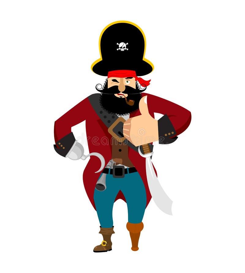 Pirat aprobaty obstrukcja mruga emoji pirat rozochocony Ve ilustracji