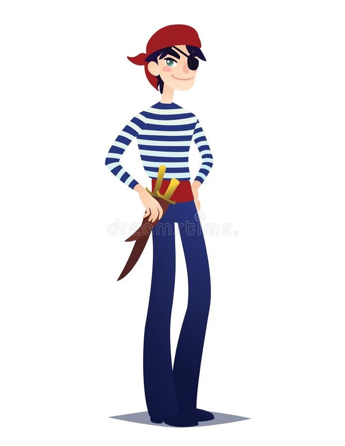 Pirat chłopiec z kindżałem Śliczny młody człowiek w stylu Denny Corsair w czerwonych bandanach i pasek z bronią iść dla kostiumu ilustracja wektor