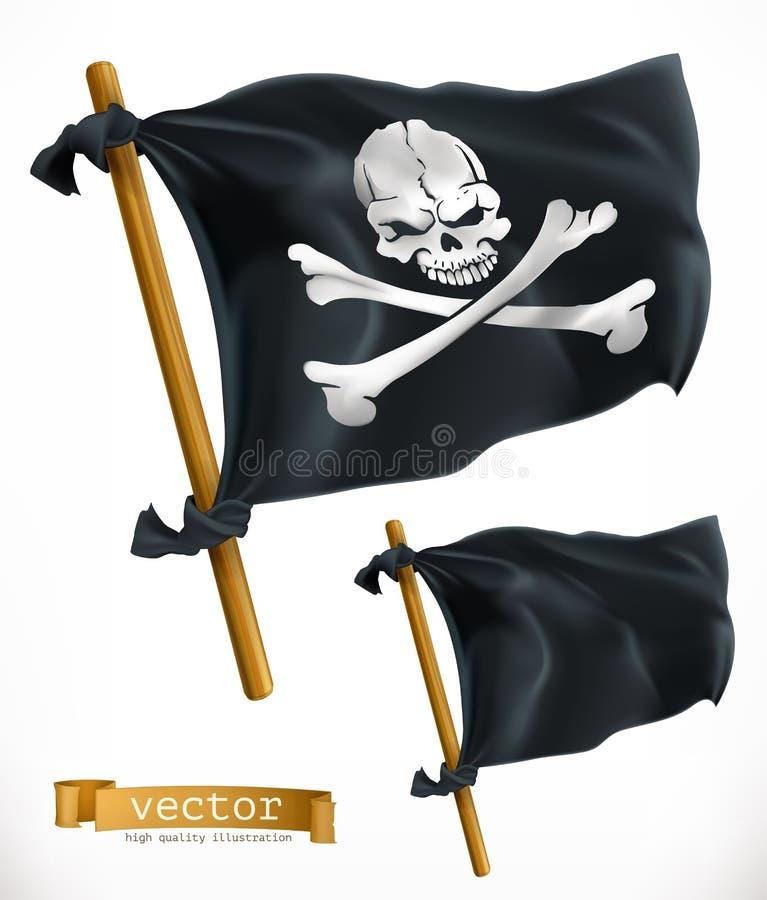 pirat czarna flaga Bycza Roger wektoru ikona ilustracja wektor