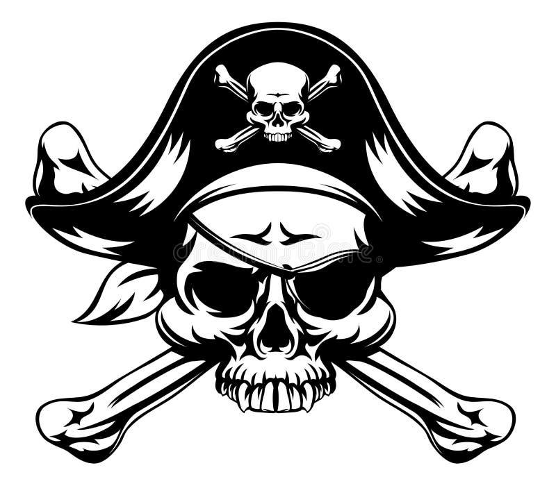 Pirat czaszka i Krzyżować kości royalty ilustracja