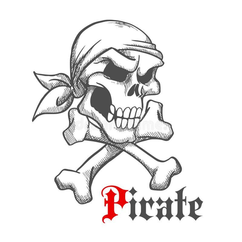 Pirat czaszka w bandanach z crossbones nakreśleniem ilustracja wektor