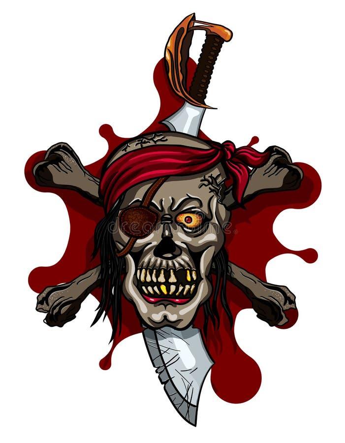 Pirat czaszka w Czerwonej kapitałce z Przecinającymi kordzikami royalty ilustracja