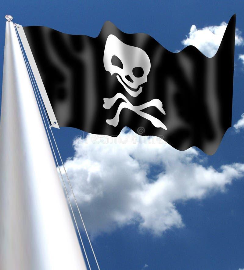 Pirat czaszki flaga Byczy Roger jest tradycyjnym angielszczyzny imieniem dla flaga latać utożsamiać pirata statek wokoło atakować ilustracja wektor