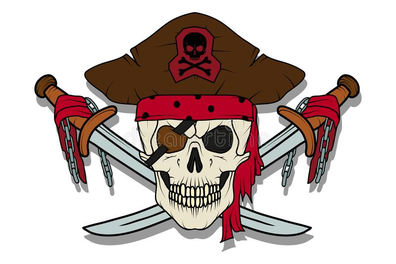 pirat czaszki zła jolly Roger ilustracji