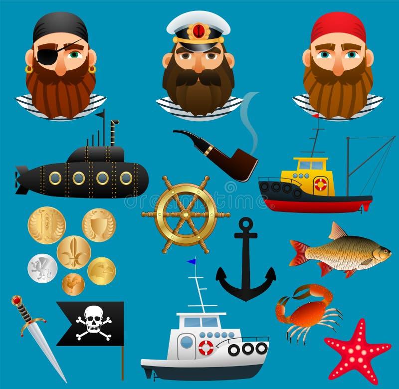 Pirat, denny kapitan i rybak, Portrety ludzie denni zawody, ich statki i rzeczy, Set przedmiota nautyczny temat ilustracja wektor