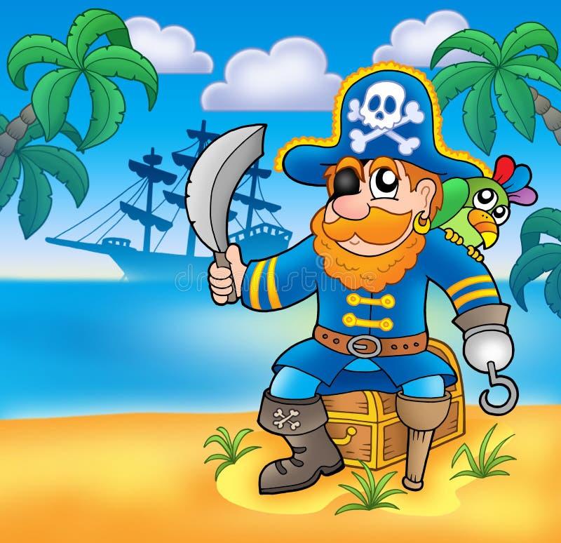 Pirat, der auf Kasten mit Lieferung sitzt stock abbildung
