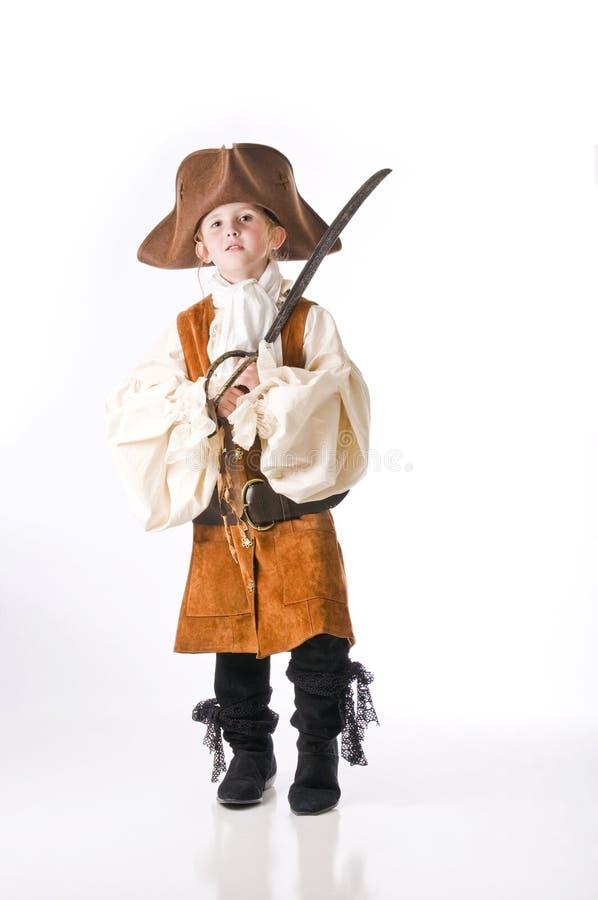 Pirat des kleinen Mädchens für Halloween stockbilder