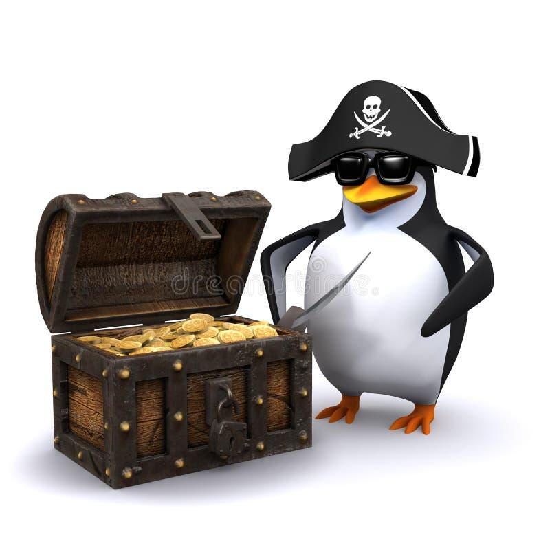 Pirat des Pinguins 3d mit seiner Schatztruhe voll vom Gold vektor abbildung