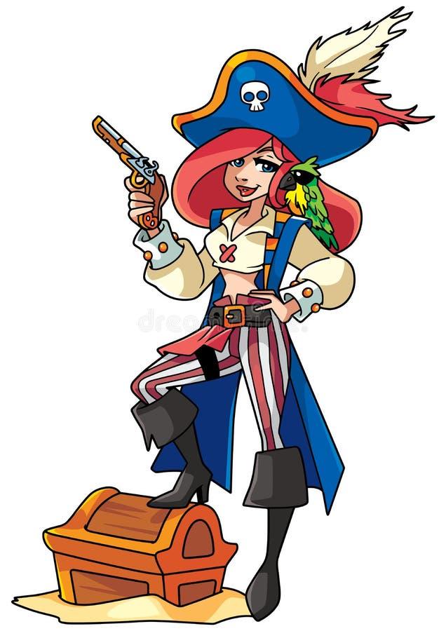 Pirat dziewczyny ilustracja royalty ilustracja