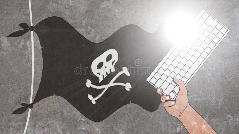Pirat fahnenschwenkend und Tastatur stockbilder