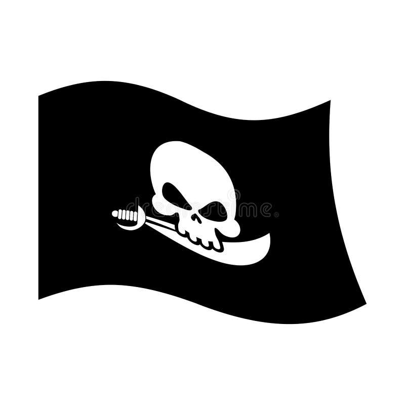 Pirat flaga crossbones i czaszka piracki czarny sztandar odizolowywa royalty ilustracja