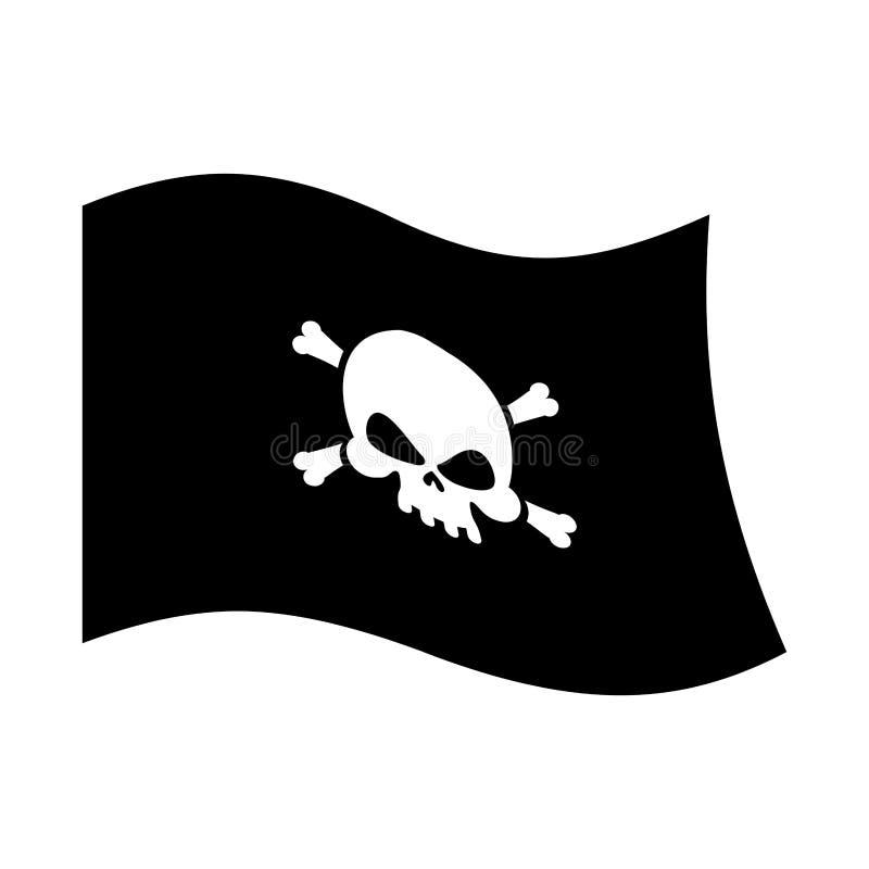 Pirat flaga crossbones i czaszka piracki czarny sztandar odizolowywa ilustracji