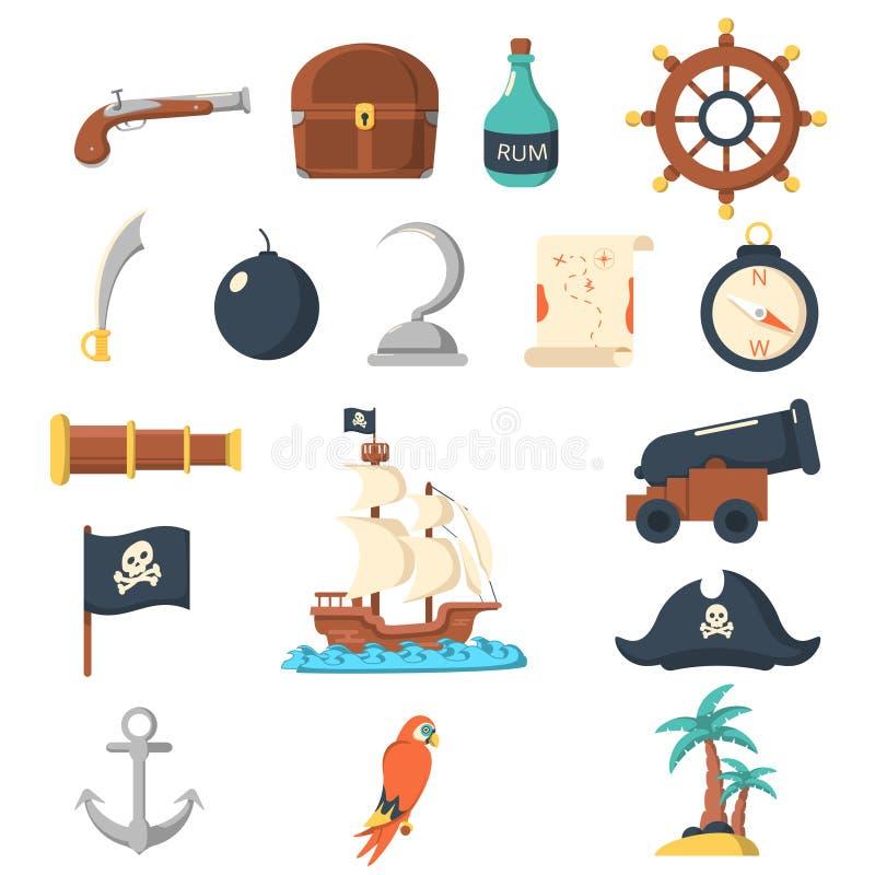 Pirat ikon mieszkania set ilustracja wektor