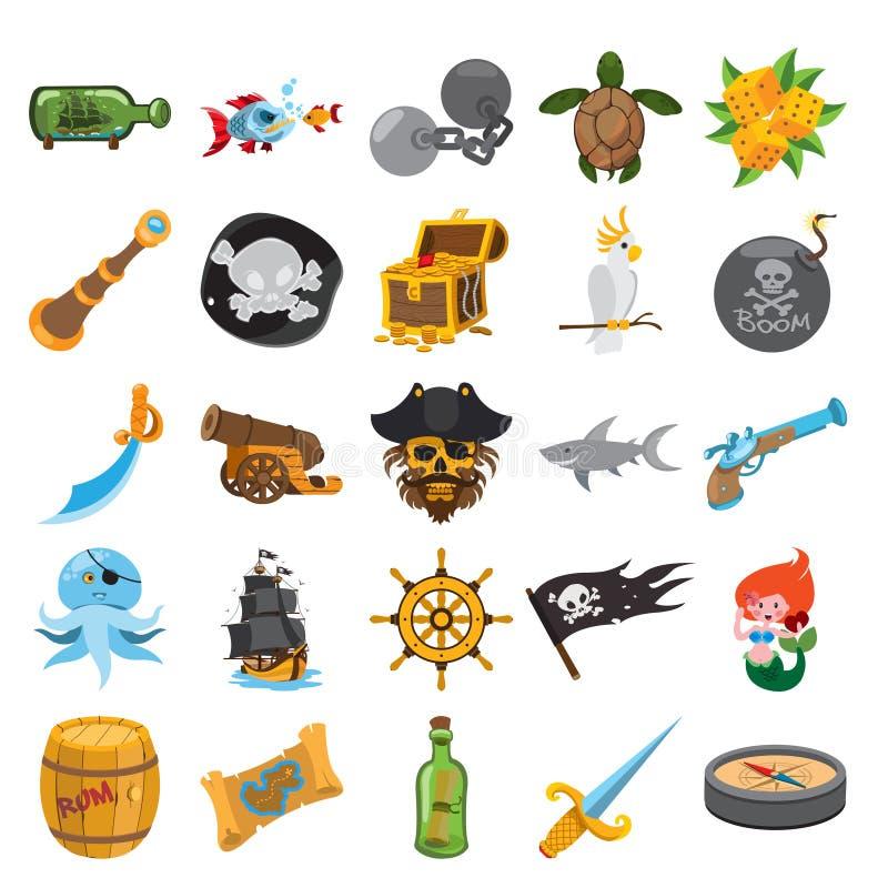 Pirat ikony royalty ilustracja