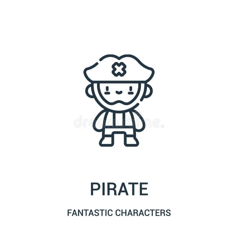 pirat ikony wektor od fantastycznych charakterów inkasowych Cienka kreskowa pirata konturu ikony wektoru ilustracja royalty ilustracja