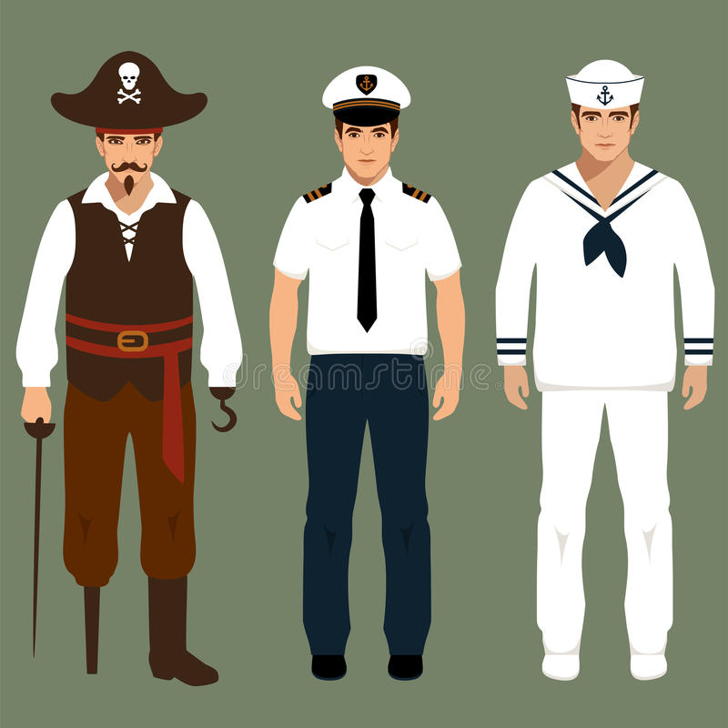 Pirat, kapitan i żeglarz, ilustracji