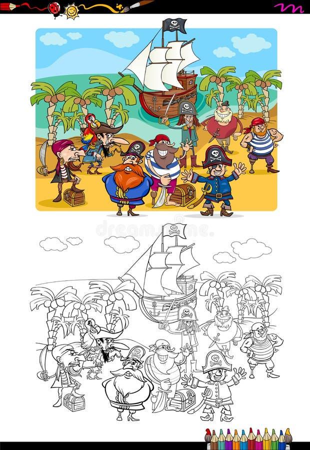 Pirat kolorystyki grupowa strona ilustracja wektor