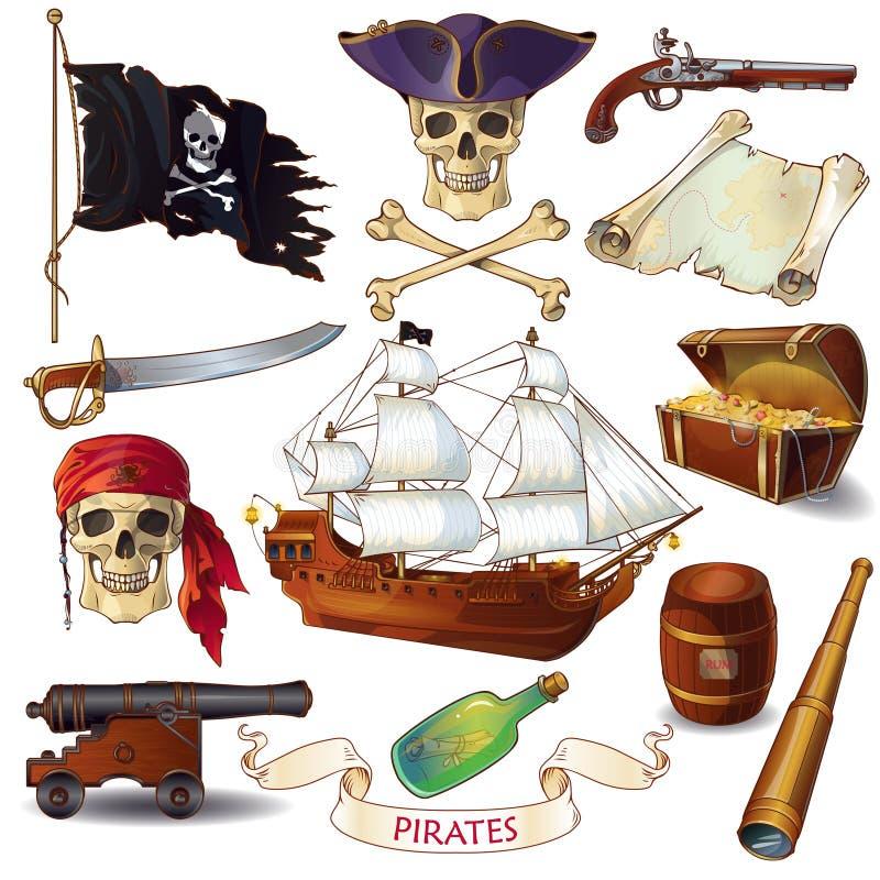 Pirat kreskówki ikony Ustawiać ilustracja wektor
