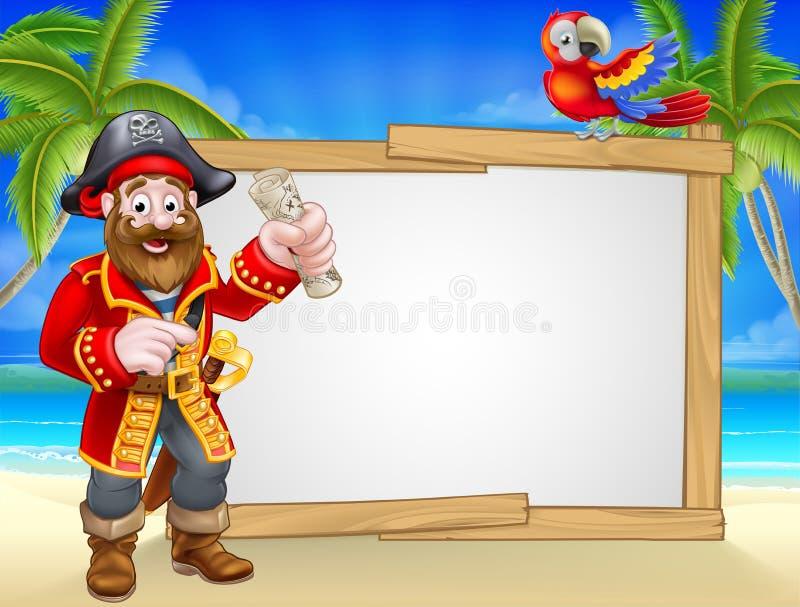 Pirat kreskówki plaży znaka tło ilustracja wektor