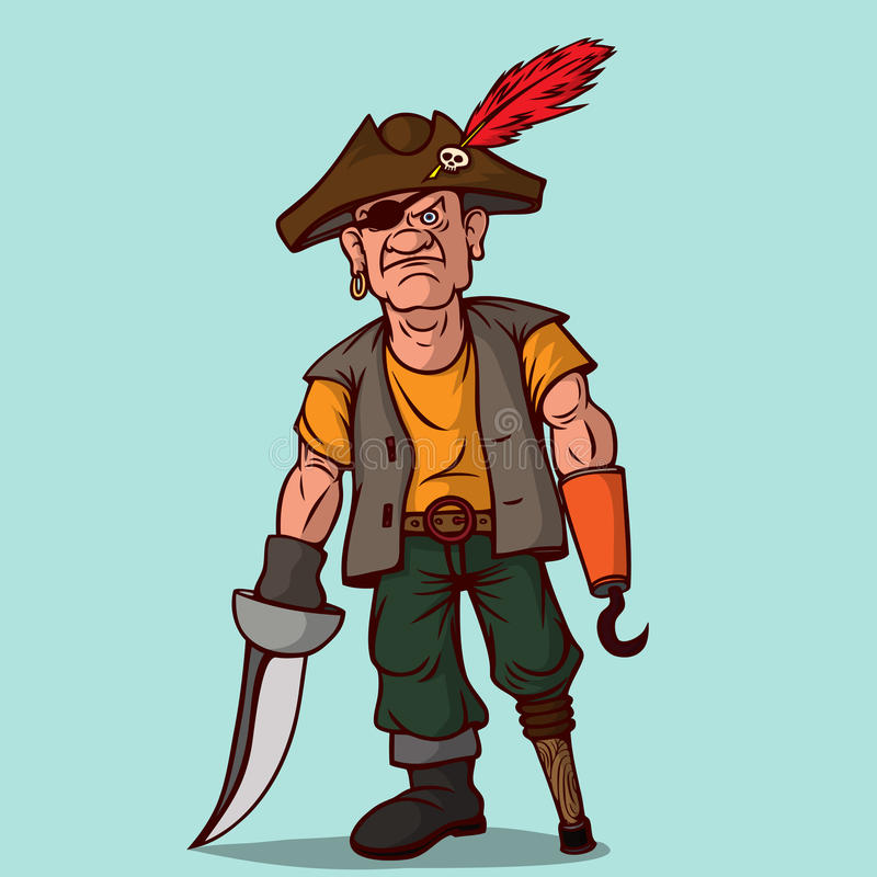 Pirat mit einer Klinge auf einem Holzbein Anstelle einer Hand ein Haken Ein Auge stock abbildung
