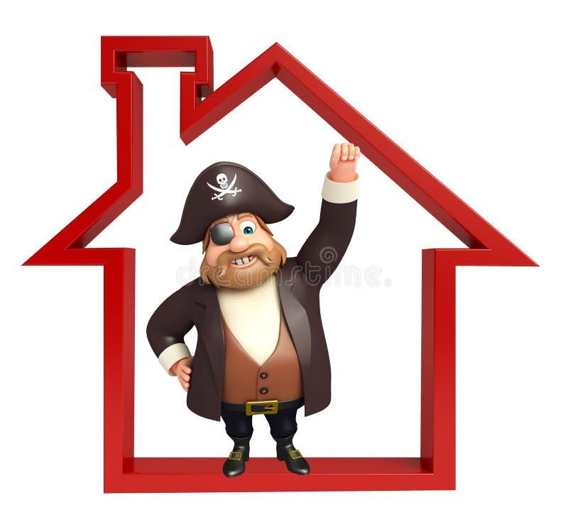 Pirat mit Hauptzeichen stock abbildung