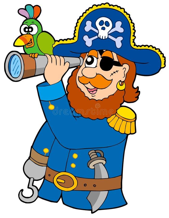 Download Pirat Mit Spyglass Und Papageien Vektor Abbildung - Illustration von abbildung, dolch: 9077158