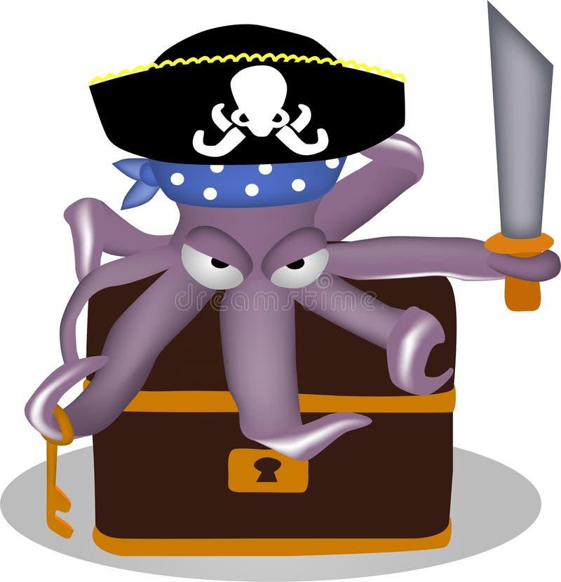 Pirat ośmiornica royalty ilustracja