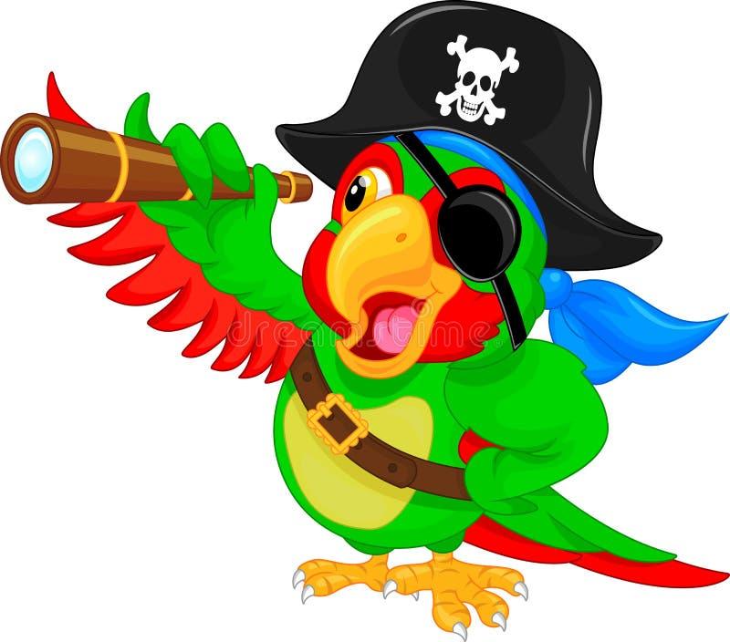 Pirat papugi kreskówka ilustracja wektor