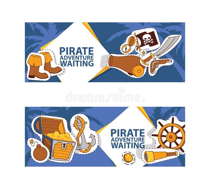 Pirat przygody czekania sztandar Corsairs wektorowa ilustracja z majcherami i łatami tak jak kotwica, skarb, czarny ilustracji