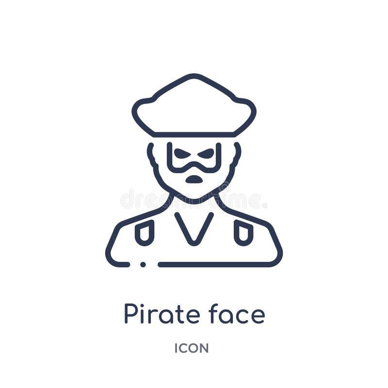 Pirat twarzy ikona od ludzi kontur kolekcji Cienka kreskowa pirat twarzy ikona odizolowywająca na białym tle ilustracji