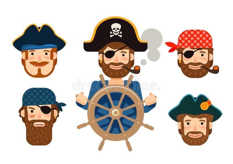 Pirat u steru statku corsairs Śmieszny żeglarz royalty ilustracja