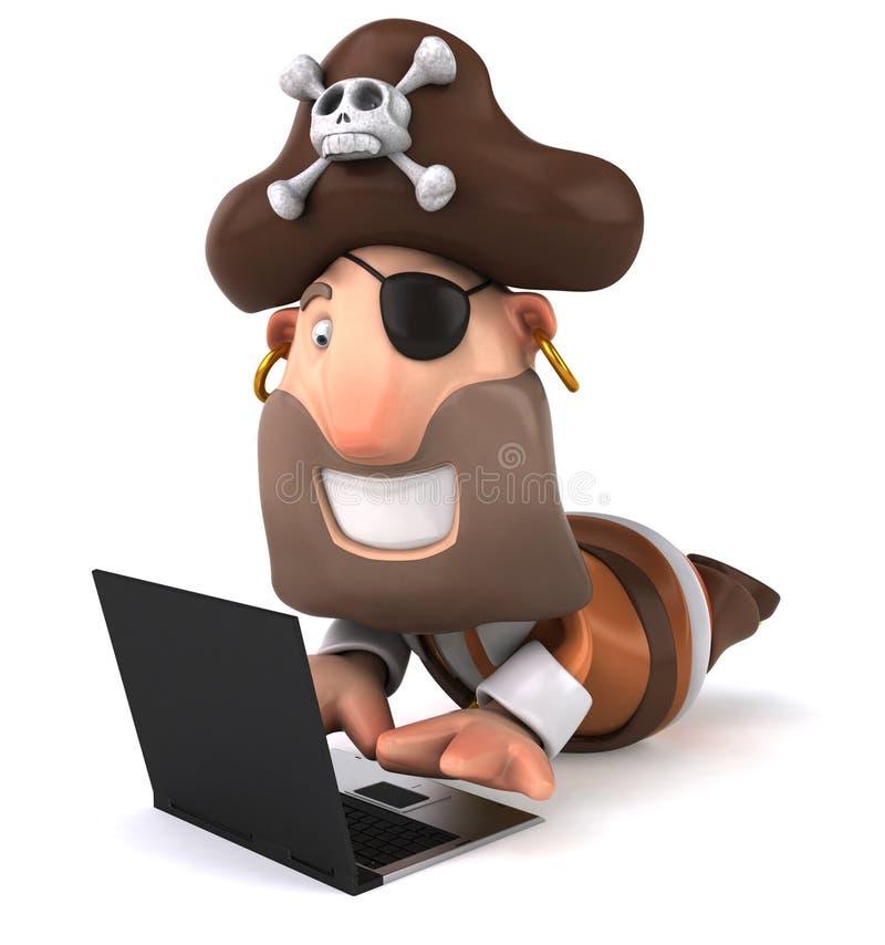 Pirat und Computer lizenzfreie abbildung
