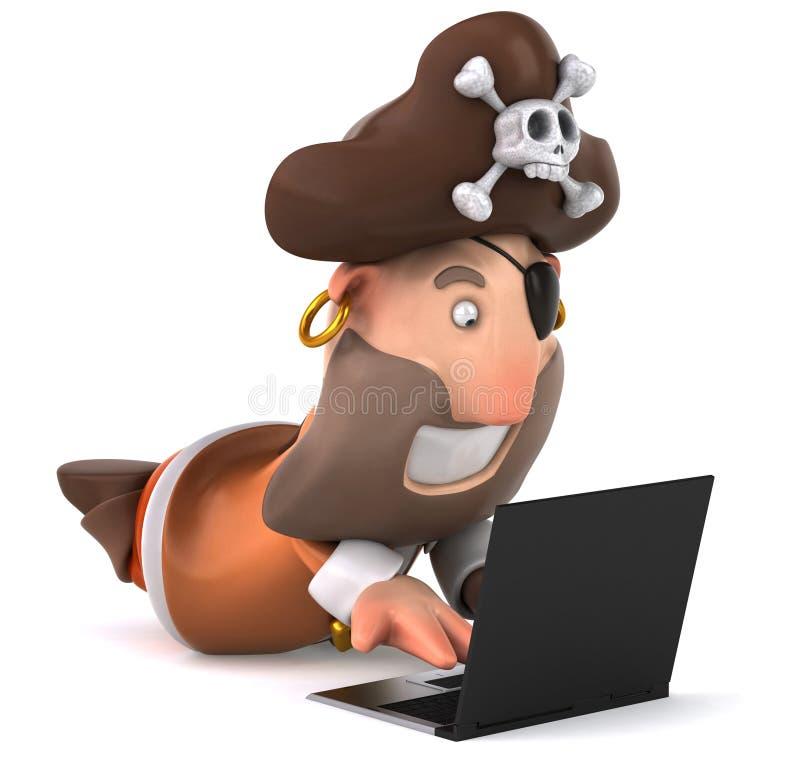 Pirat und Computer stock abbildung