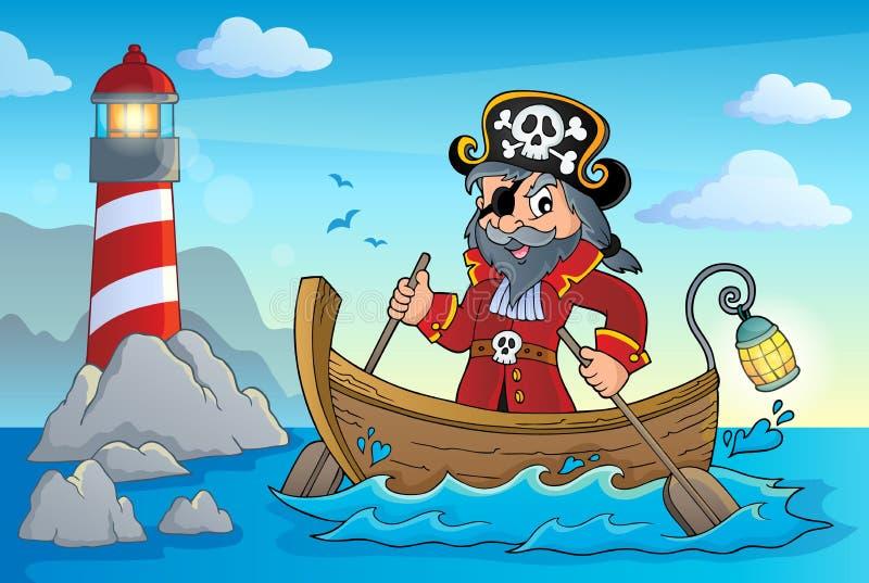 Pirat w łódkowatym tematu wizerunku 4 ilustracja wektor