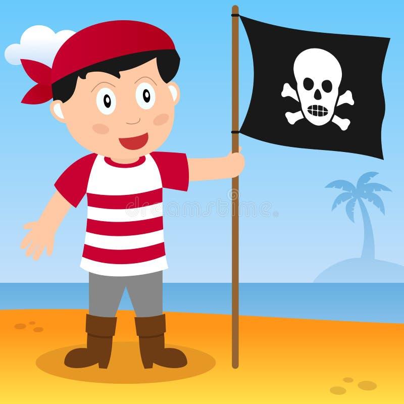 Pirat z flaga na plaży royalty ilustracja