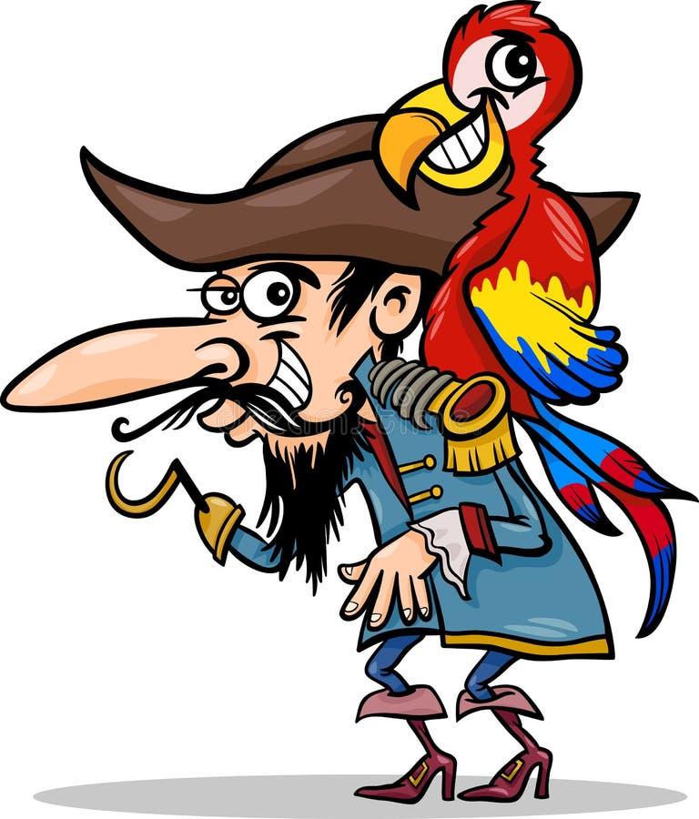 Pirat z papuzią kreskówki ilustracją ilustracji