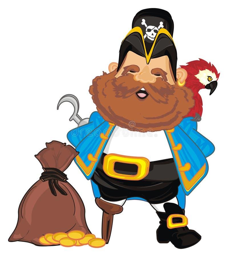 Pirat z pieniądze i ptakiem ilustracji