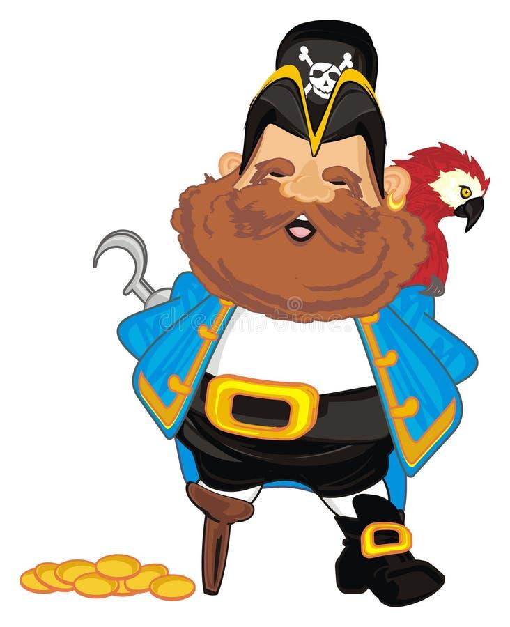 Pirat z pieniądze i ptakiem ilustracja wektor