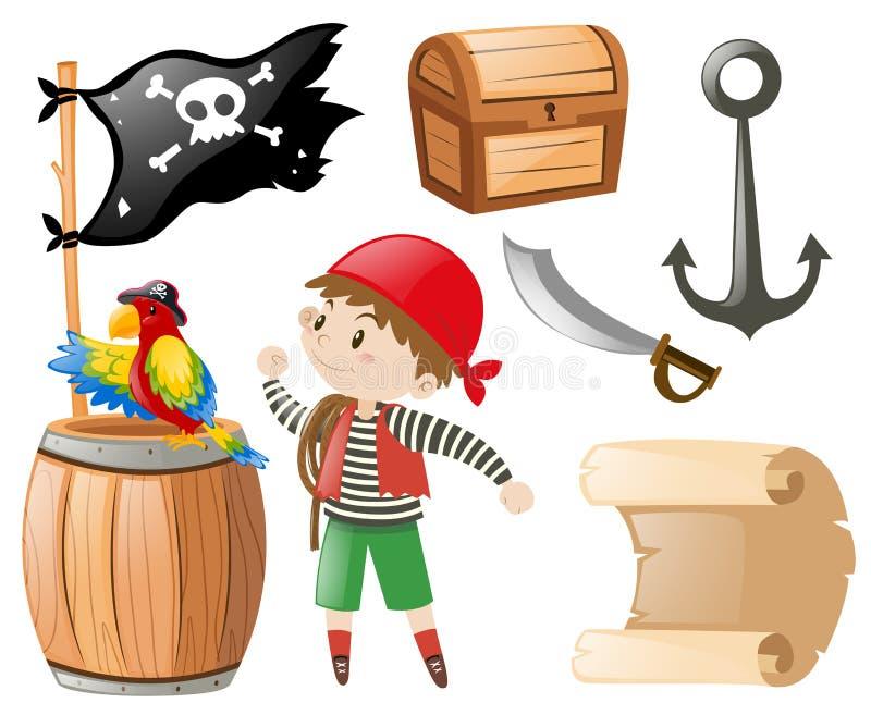 Pirata ajustado com muitos artigos e pirata ilustração stock
