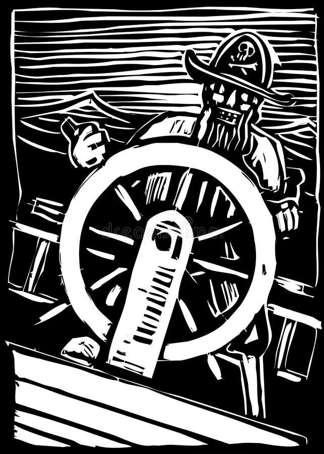 Pirata alla rotella illustrazione vettoriale