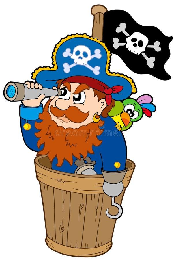 Pirata alla vigilanza del cane illustrazione di stock