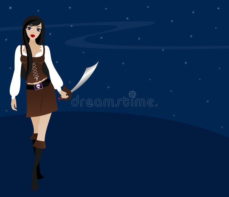 Pirata atractivo ilustración del vector