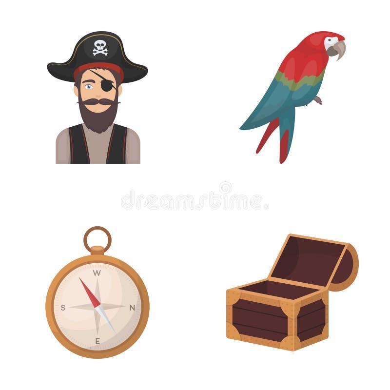 Pirata, bandido, chapéu, atadura Os piratas ajustaram ícones da coleção na Web da ilustração do estoque do símbolo do vetor do es ilustração do vetor