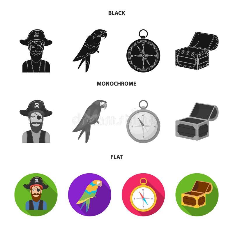 Pirata, bandido, sombrero, vendaje Los piratas fijaron iconos de la colección en la acción negra, plana, monocromática del símbol ilustración del vector